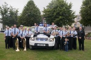 Surrey Police Band with Police car at the Aldershot Bandstand, 2013